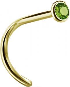 Nässmycke - PVD Guld - Grön Kristall