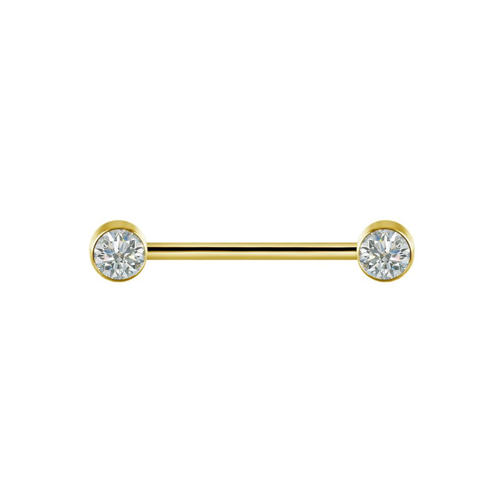 Stav med kristaller - Nipple piercing - Guld
