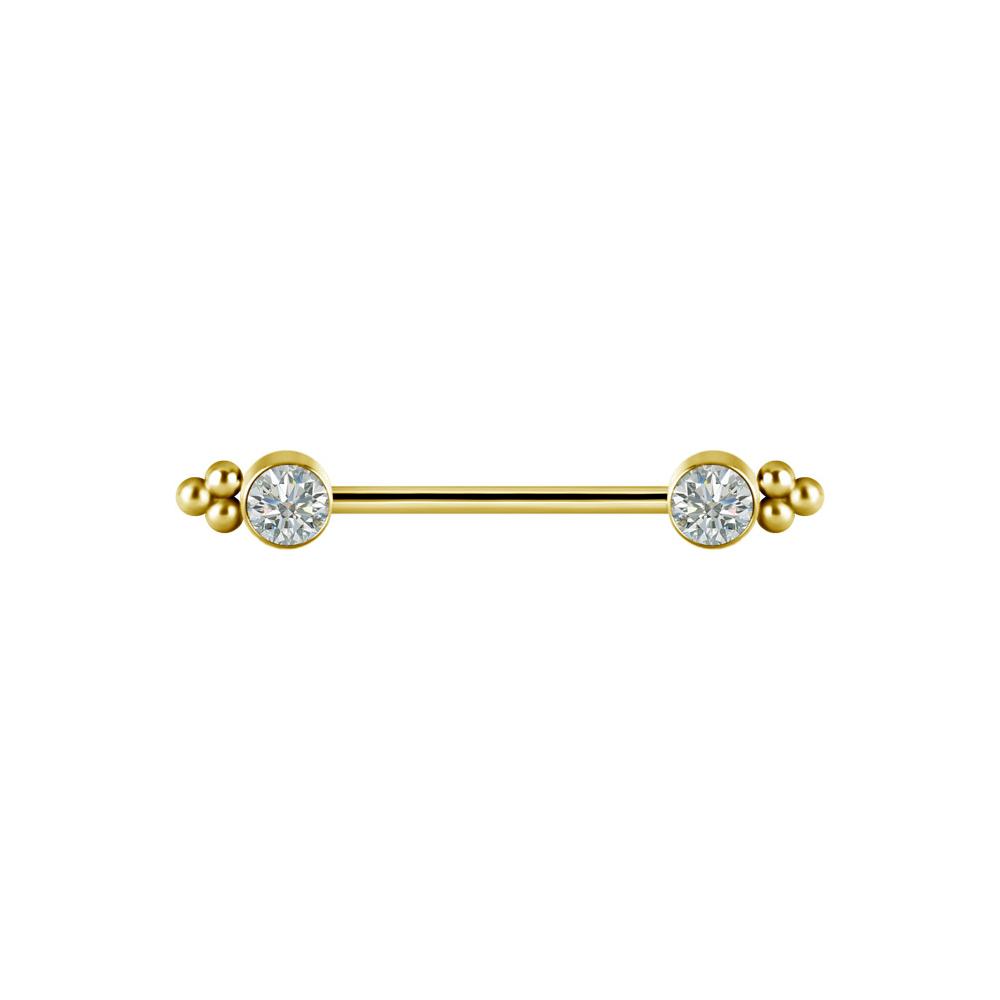 Stav med stora kristaller - Nipple piercing - Guld