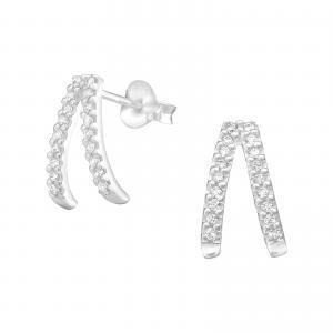 Silverörhängen - Half Hoop Crystals