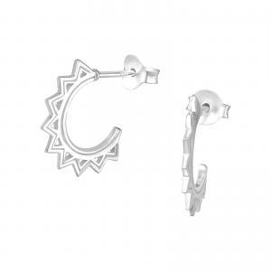 Silverörhängen - Half Hoop Mandala
