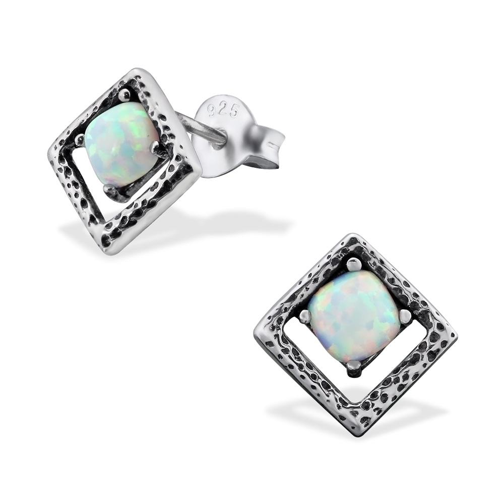 Silverörhängen - Square Opal