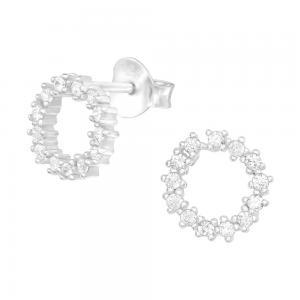 Cirkel med kristaller - Studs - Örhängen i äkta silver