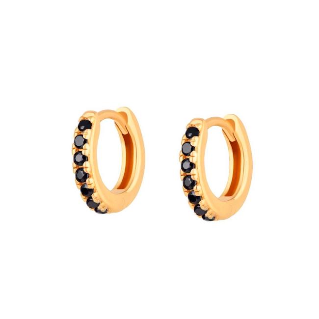 Huggie örhängen - Guldringar - Hoops med svarta kristaller