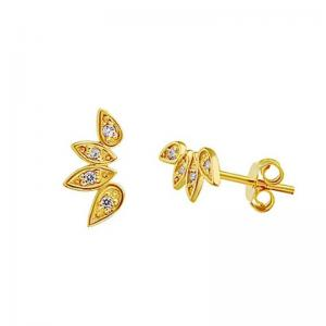 Örhängen -18k guldplätering - Vita kristaller