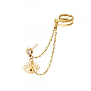 Örhänge och ear cuff med kedja - Dubbla ringar - Guld