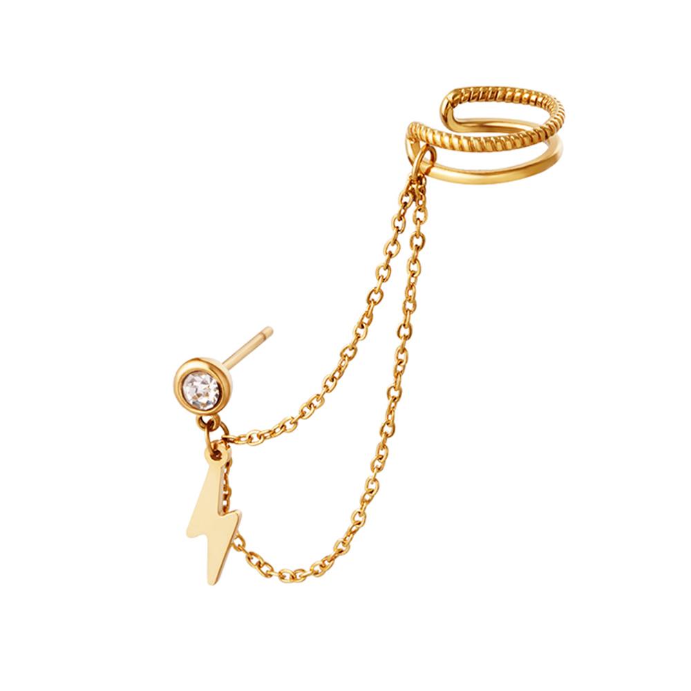 Örhänge och ear cuff med kedja - Dubbla ringar - Hängande blixt i guld