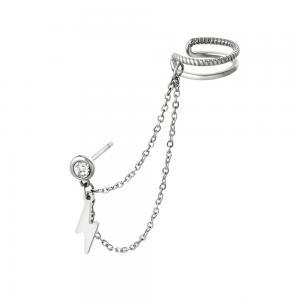 Örhänge och ear cuff med kedja - Dubbla ringar - Hängande blixt