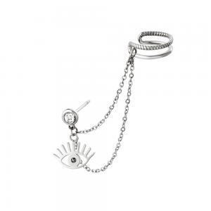 Örhänge och ear cuff med kedja - Dubbla ringar - Silvrigt kirurgiskt stål
