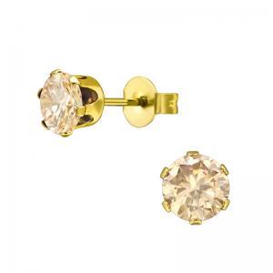 Stiftörhängen - Champagne kristall - Guldpläterat Kirurgiskt stål