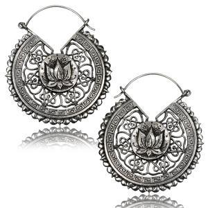 Örhängen i vit Mässing, Lotus Flower Mandala