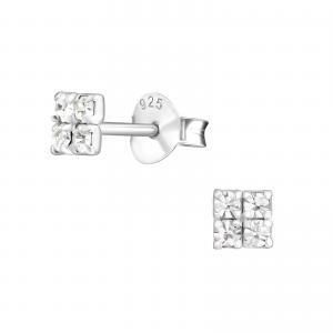 Små Örhängen - Fyrkant Kristaller