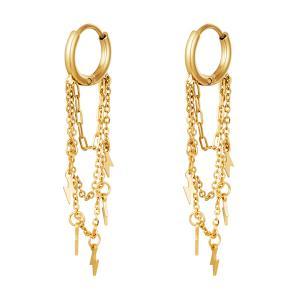 Huggie örhängen - Guld - Ringar i kirurgiskt stål med kedja och blixtar