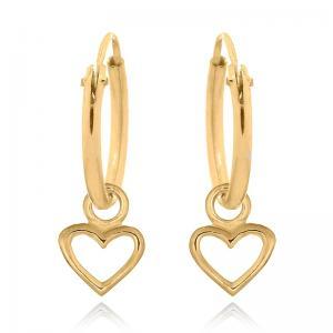 Hoops Örhängen - Guldpläterat silver - Hjärta