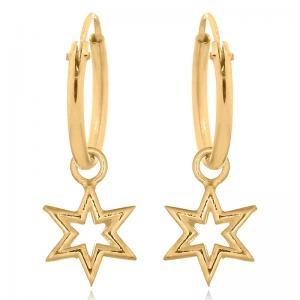 Hoops Örhängen - Guldpläterat silver - Stjärna