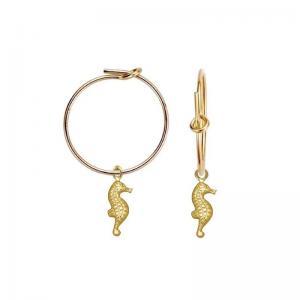 Hoops örhängen - 18k- guldpläterade ringar med Sjöhäst