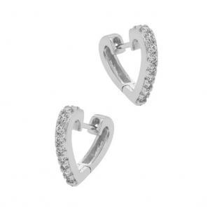 Huggie Hoops - Silverringar med vita kristaller - Örhängen hjärtan