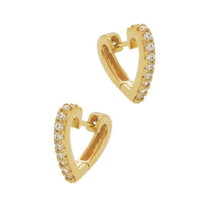 Huggie Hoops - Guldringar med vita kristaller - Örhängen Hjärtan