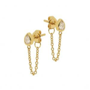Örhängen - Teardrop kristall - Ear studs i guldpläterat äkta silver