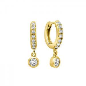 Huggie Hoops - Guldringar med vita kristaller - Örhängen