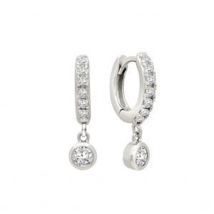 Huggie Hoops - Silverringar med vita kristaller och hängsmycke - Örhängen