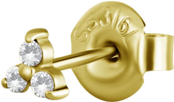 Örhängen i guldigt kirurgiskt stål med tre stycken kristaller.