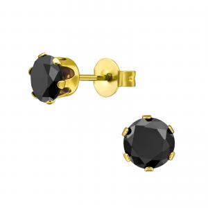 Kristallörhängen - 6mm - Svart Kristall