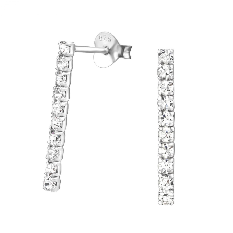 Silverörhängen - Rektangel med kristaller