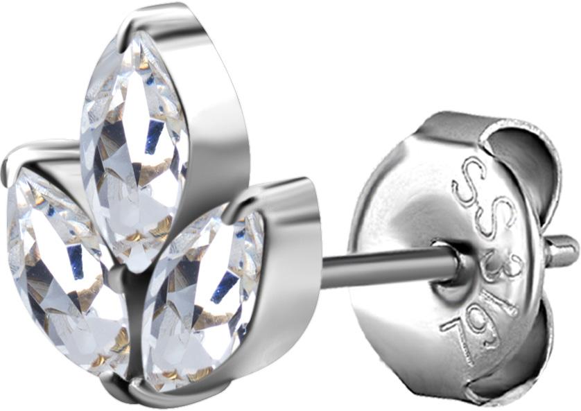 Lotusformat kristallörhänge i nickelfritt silvrigt stål