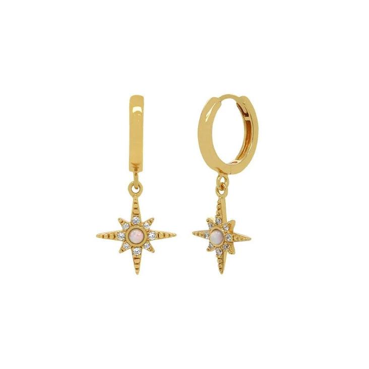 Huggie Hoops - Creoler Ringar med stjärna och opaliter