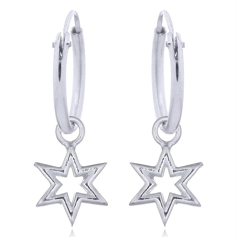 Silverringar - Creoler med Stjärna