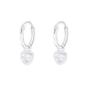 Örhängen - Creoler Ringar med Hjärta i kristall