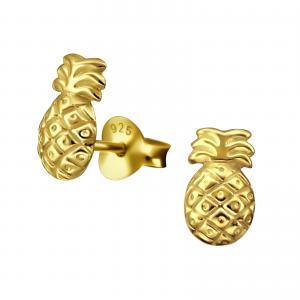 Guldigt studs örhänge med motiv av en ananas.