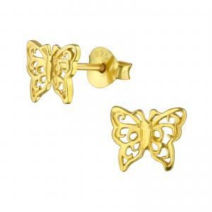 Guldpläterat örhänge med motiv av en fjäril. Örhänget är gjort i guldigt äkta silver.