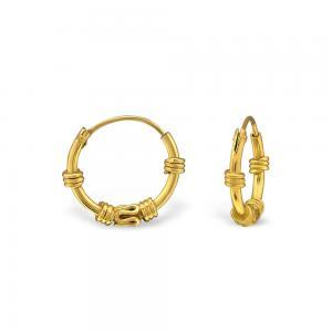 Bali Hoops 10 mm - Guldpläterat silver
