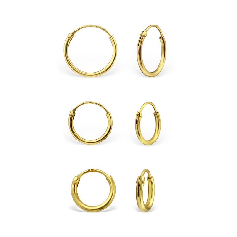 3 par Hoops-örhängen - Släta guldringar