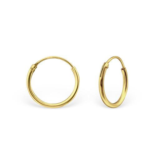 Guldringar - Hoops - Guldpläterat silver - 12 mm