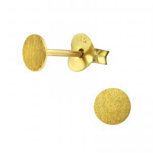 Örhängen - Guld Flat Disc - 4mm