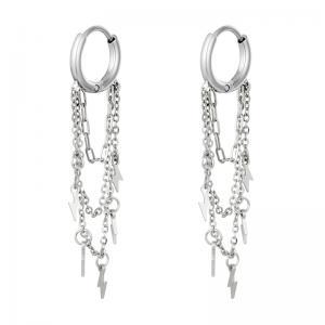 Huggie örhängen - silver - Ringar i kirurgiskt stål med kedja och blixtar