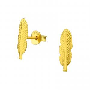 Örhängen Studs - Guldig Fjäder