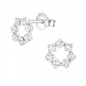 Kristallörhängen - Stjärna - vita kristaller