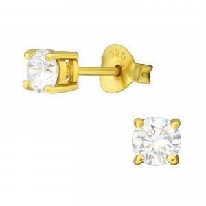 Kristallörhängen - 4mm - Guldpläterat silver