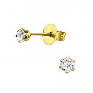 Stiftörhängen - Kristaller - Guldpläterat Kirurgiskt stål - 3mm