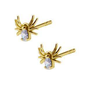 Stiftörhängen - 24k-guldplätering  - Spindel