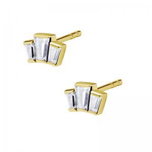 Stiftörhängen - 24k-guldplätering  - Vita kristaller