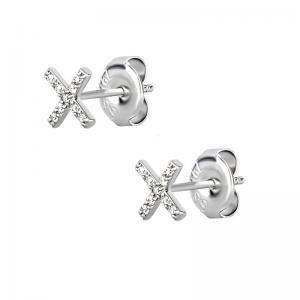 Stiftörhängen - Kirurgiskt stål - Kors med Vita kristaller