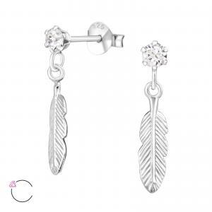 Silverörhängen - Kristall med hängande fjäder