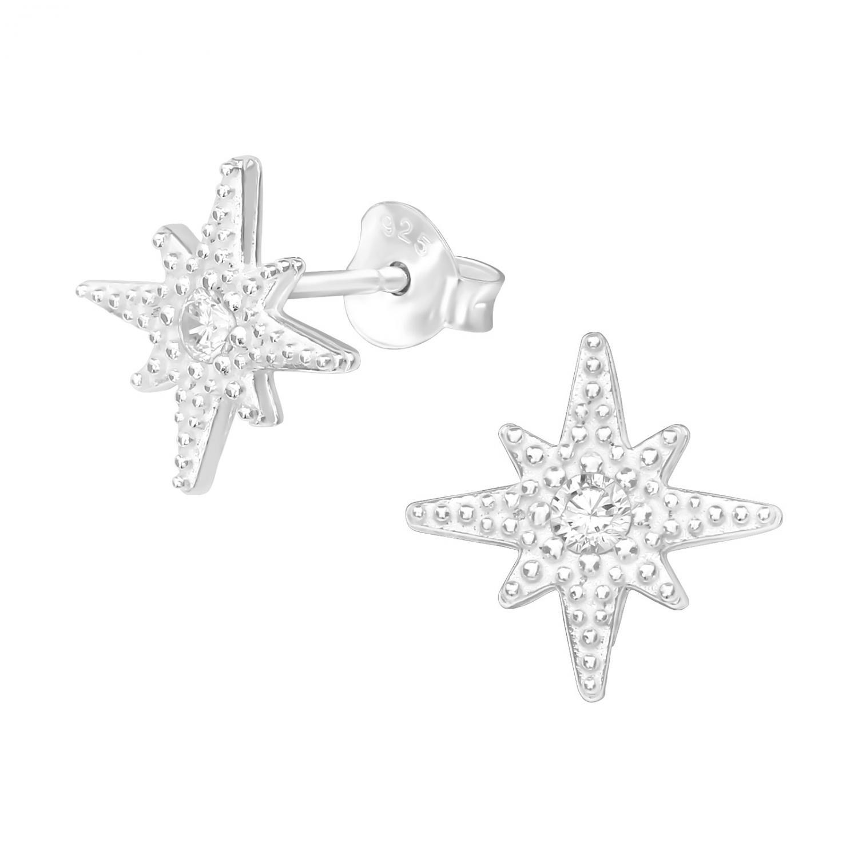 Silverörhängen - Stjärna med kristall