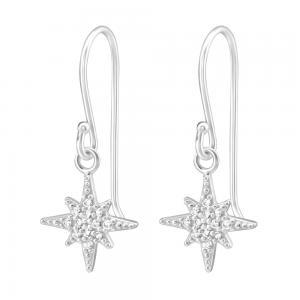 Stjärna - Örhängen med hängsmycke - Äkta silver