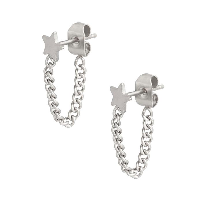 Stjärna med kedja - Stiftörhängen - Studs i Kirurgiskt stål